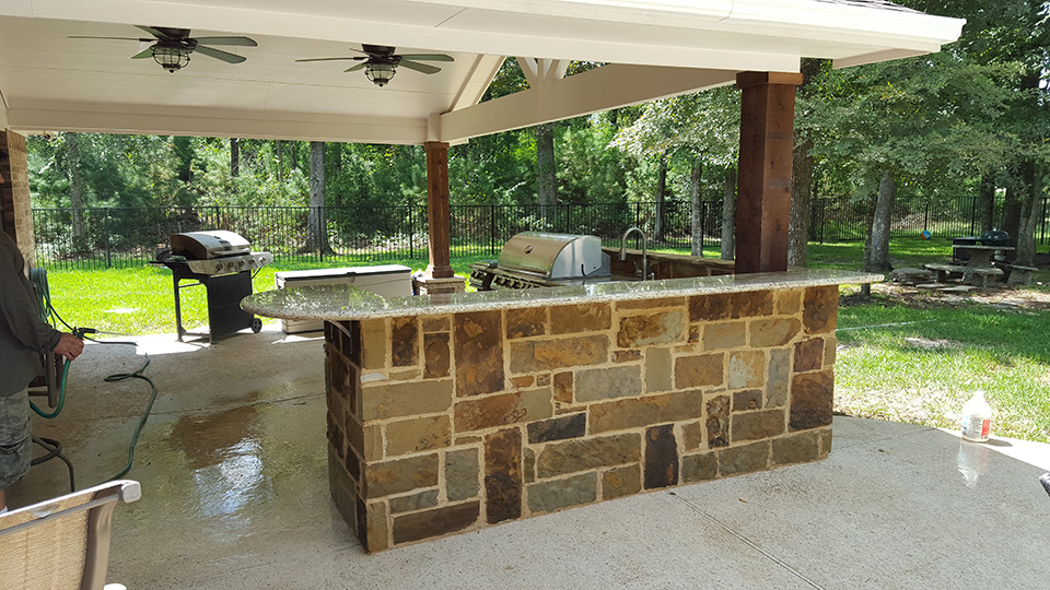 The outdoor kitchen coming together.